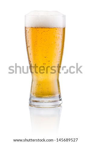 Beer glass with condensation on a white background - stock photo