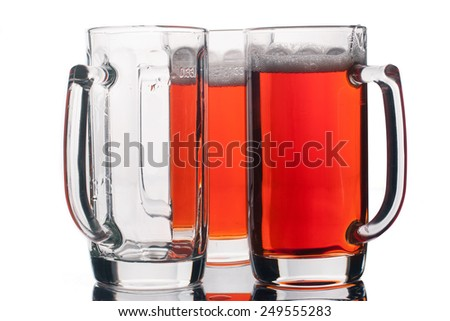 Beer glasses isolated on white background - stock photo