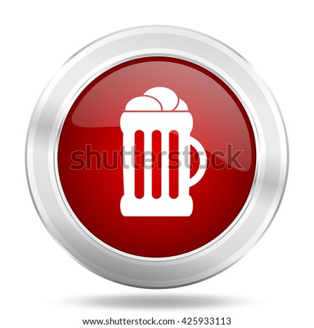beer icon, red round metallic glossy button, web and mobile app design illustration - stock photo