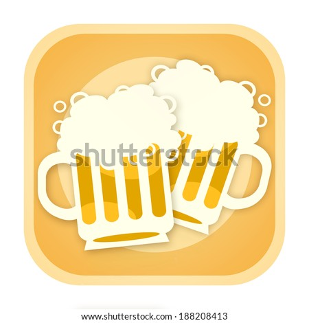 Beer icon with two mugs - stock photo