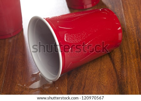 Beer in a Disposable Red Cup at a party - stock photo