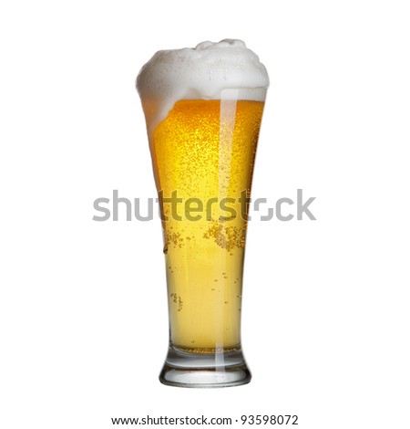 beer in a glass isolated on white - stock photo