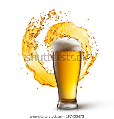 Beer in glass with splash isolated on white background - stock photo