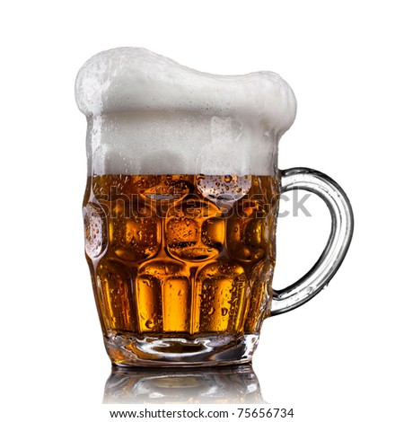 Beer in glass with water drops isolated on white - stock photo