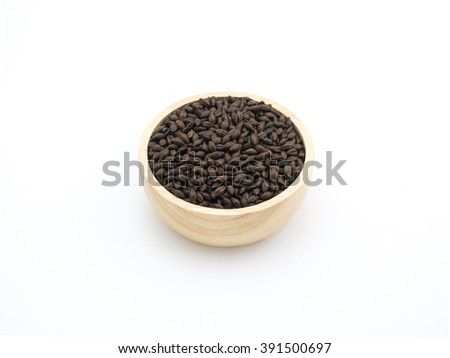 Beer ingredient, isolated Chocolate malt on white background - stock photo