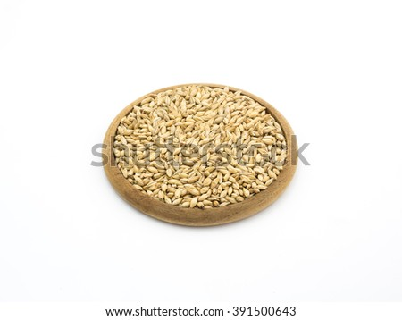 Beer ingredient, isolated Pale ale malt on white background - stock photo