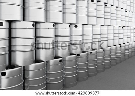 Beer kegs. 3d render - stock photo