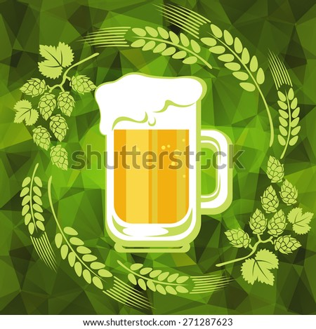 Beer mug and floral pattern on a green polygonal background. - stock photo