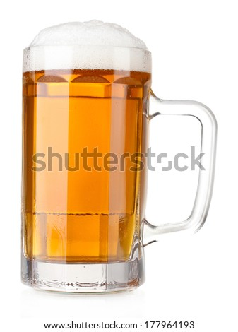 beer mug isolated on white - stock photo