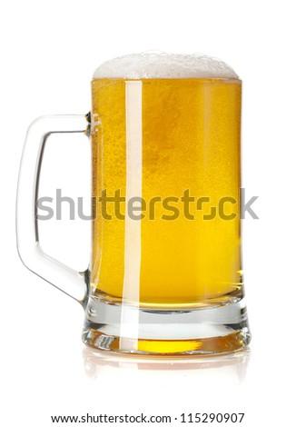 Beer mug. Isolated on white background - stock photo