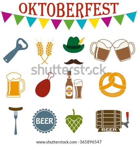 Beer set. Octoberfest icon set. German food and beer symbols. Oktoberfest beer festival design elements. - stock photo