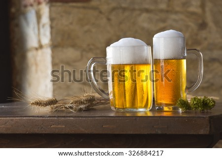 beer still life on the table  - stock photo