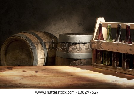 beer still life the table with old  beer kegs tap - stock photo