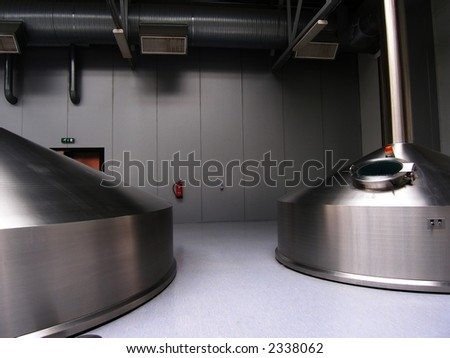 Beer tanks - stock photo