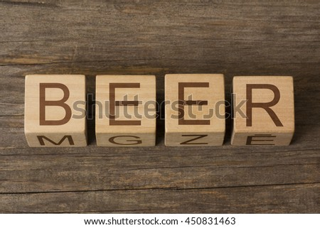 BEER text on wooden cubes - stock photo
