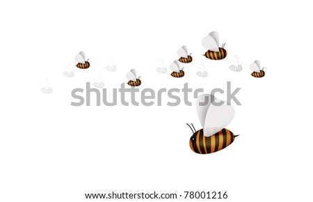 Bees on a white background - stock photo