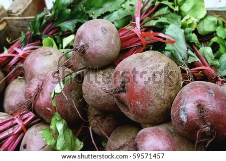 Beet on a counter   of the market - stock photo