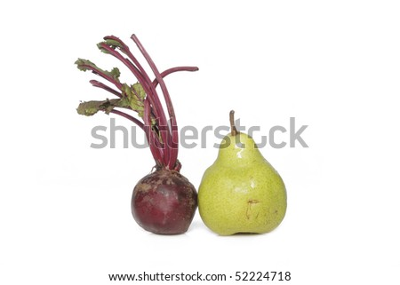 beet root and pear - stock photo