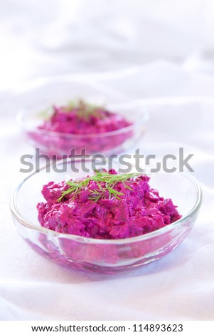 Beet salad made with yogurt, or Tzatziki - stock photo