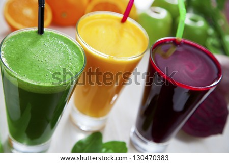 Beetroot, apple and celery juice. - stock photo