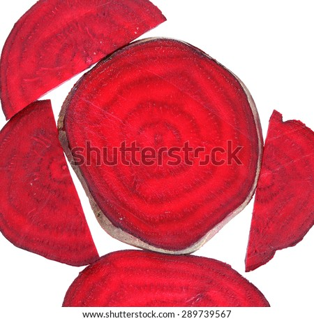 Beetroot sliced. Colorful healthy food. Isolated on white background Macro. Natural food background - stock photo
