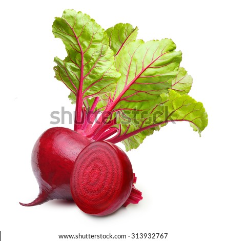 Beetroot with leaves isolated on white background. - stock photo