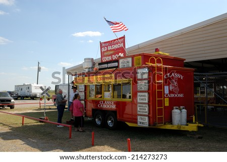 BEEVILLE, USA - OCT 19: Food stand at the amusement park. October 19, 2008 in Beeville, Texas, USA - stock photo