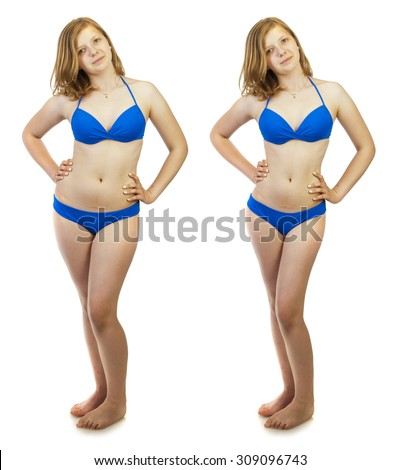 Before and after a diet concept. Young woman wearing blue swimsuit, studio portrait isolated on white background - stock photo