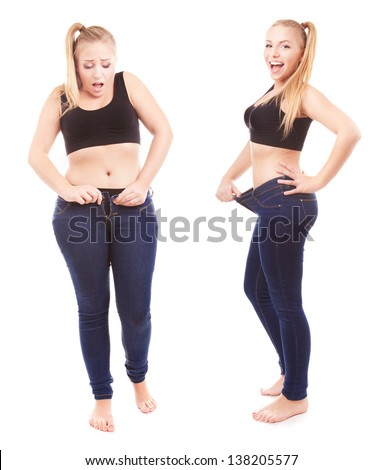 Before and after a diet, girl is happy by achievement - stock photo
