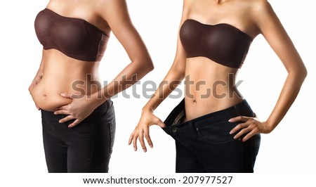 Before and after a diet woman - stock photo