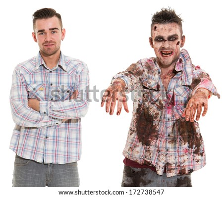 Before and after. Creepy zombie cosplay - stock photo