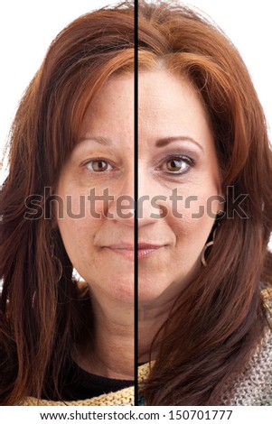 Before and after makeup on a middle aged Italian German brunette woman. - stock photo