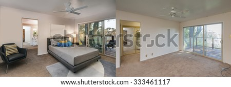 Before and After photo of bedroom and large french sliding doors and leather chair. Professional Home Staging ideas. - stock photo