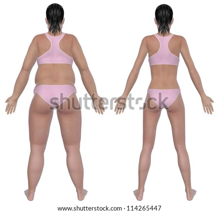 Before and after rear view illustration of a overweight female and a healthy weight female after dieting and exercising. Isolated on a solid white background. - stock photo