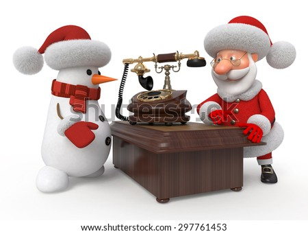 Before New Year Santa Claus and snowman wait for a call by phone from children who want to order a gift/Santa Claus and snowman with phone - stock photo