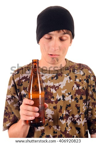 Beggar with a Beer Isolated on the White Background - stock photo