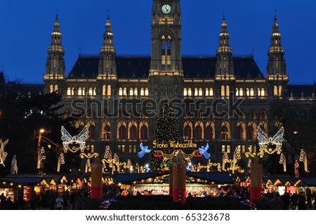 beginning of Christmas time market in Vienna - stock photo