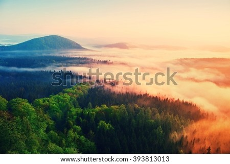 Beginning of spring. Misty daybreak in a beautiful hills. Peaks of hills are sticking out from foggy background, the fog is yellow and orange due to sun rays. - stock photo