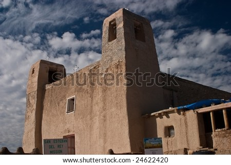 Begun in 1630, only 32 years after Juan de O?ate took possession of New Mexico in the name of King Philip II of Spain, San Esteban del Rey Church was one of the few Spanish missions - stock photo