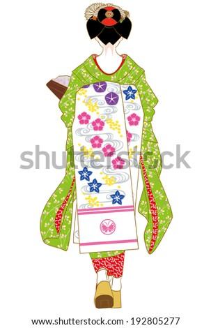 Behind Maiko of August, apprentice geisha  - stock photo
