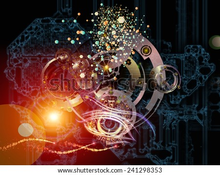 Behind Reality series. Backdrop composed of gears, fractal forms, lights and numbers and suitable for use in the projects on reality, philosophy, metaphysics and modern technology - stock photo