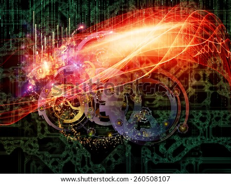 Behind Reality series. Interplay of gears, fractal forms, lights and numbers on the subject of reality, philosophy, metaphysics and modern technology - stock photo