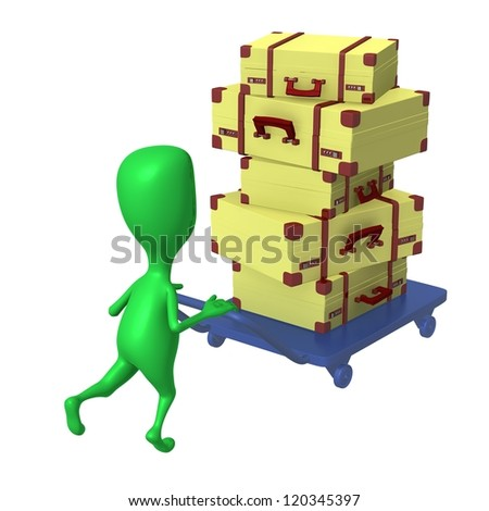 Behind view green puppet push trolley with cases - stock photo