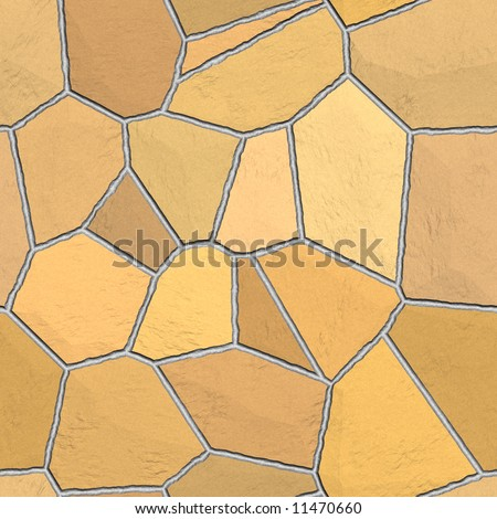 Beige and brown toned flagstone patio tiles (seamless tile texture background) - stock photo