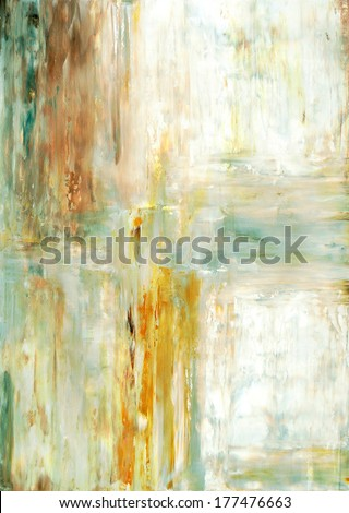 Beige and Green Abstract Art Painting - stock photo