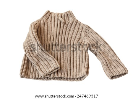 Beige baby sweater knit from acrylic yarn on a white background isolated - stock photo