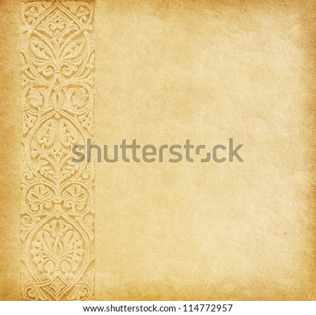Beige background. Old paper with oriental ornament. - stock photo
