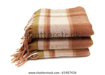 beige-brown woolen plaid isolated on white - stock photo
