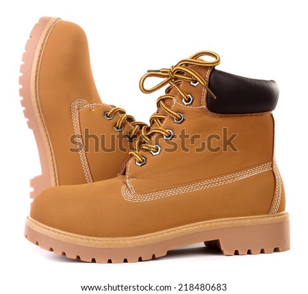 Beige brown working boots - stock photo