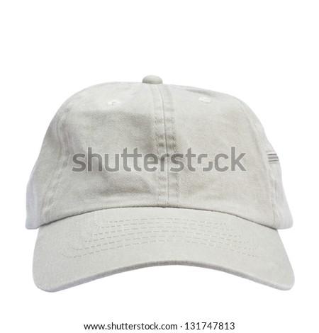 Beige cap isolated on white background - stock photo